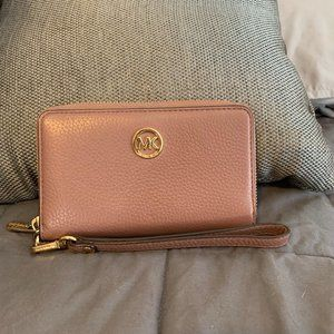 Michael Kors Leather Wristlet, Dusty Rose